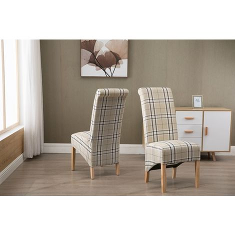 WestWood Linen Fabric Dining Chairs High Back Set of 2 Cream Check DCF01