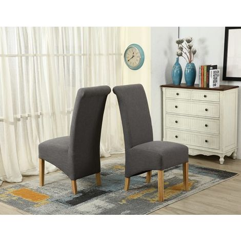 WestWood Linen Fabric Dining Chairs High Back Set of 2 Grey DCF01