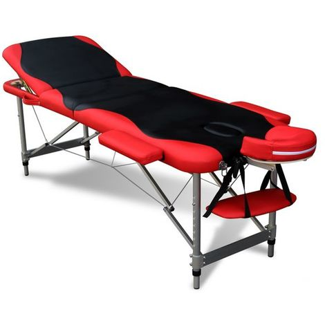 WestWood Luxury Massage Table Beauty Couch Bed Folded 3 Section Aluminium Frame Black Red
