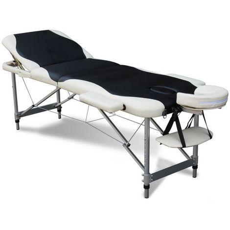 WestWood Luxury Massage Table Couch Bed Folded 3 Section Aluminium Frame Black White