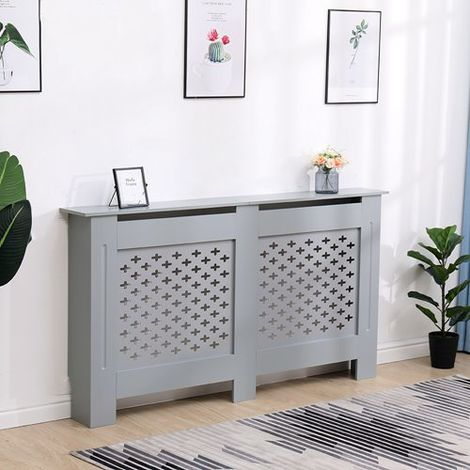 WestWood MDF Radiator Cover Cross Large Grey