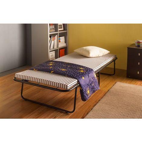 WestWood Metal Folding Bed With Mattress MFB-01 Black White Stripe