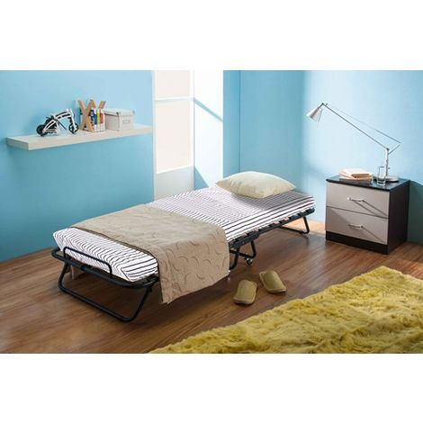 WestWood Metal Folding Bed With Mattress MFB-02 Black White Stripe