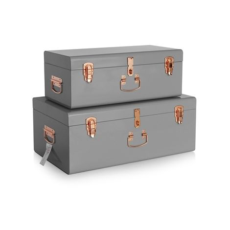 WestWood Metal Storage Trunks Set Grey