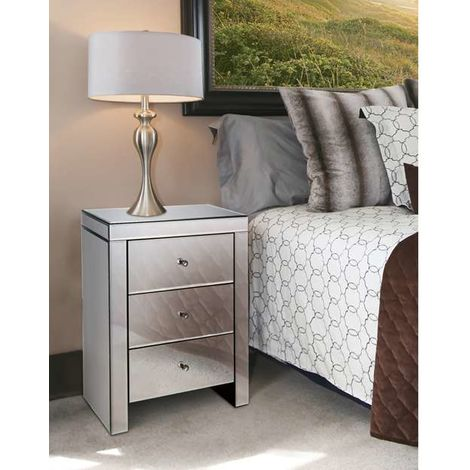 WestWood Mirrored Bedside Cabinet MBC01 Silver