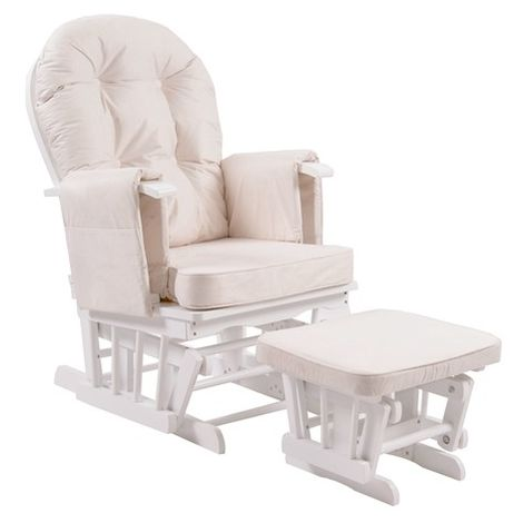 WestWood Nursing Chair With Stool White Frame Cream