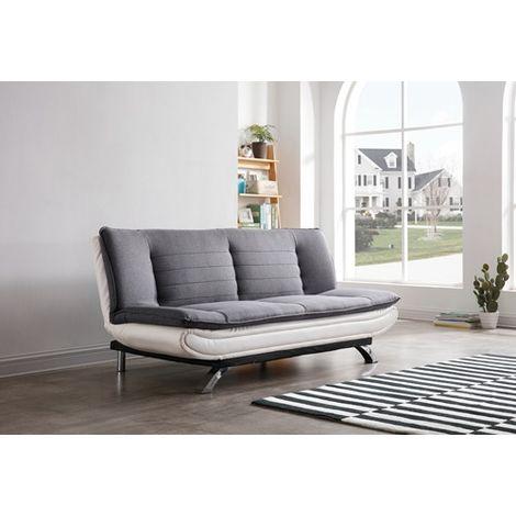 WestWood PU Leather Fabric Sofa Bed FSB07 White Grey