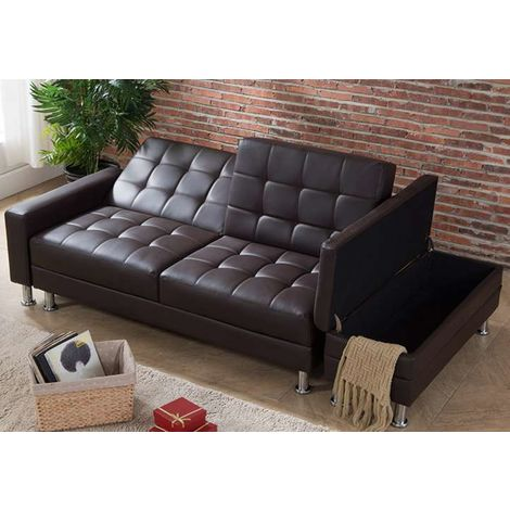 WestWood PU Sofa Bed With Storage PSB04 Brown