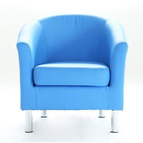 WestWood PU Tub Chair With Chrome Leg Blue