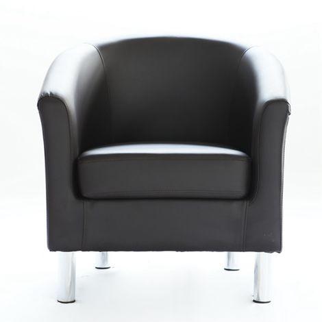WestWood PU Tub Chair With Chrome Leg Brown