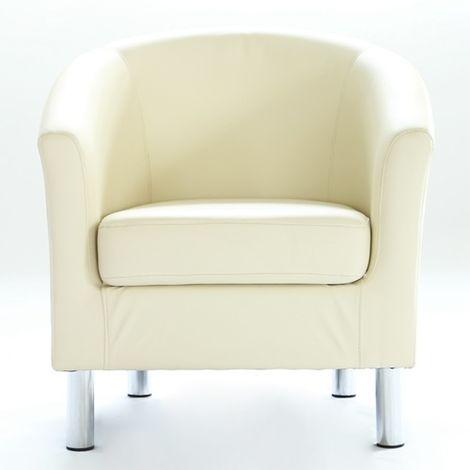 WestWood PU Tub Chair With Chrome Leg Cream