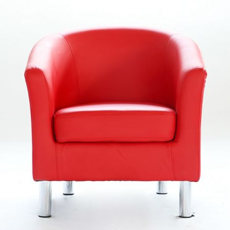 WestWood PU Tub Chair With Chrome Leg Red