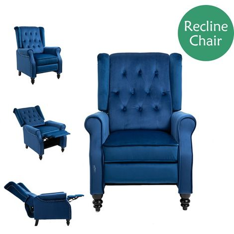 WestWood Recliner Chair Velvet RC01 Blue