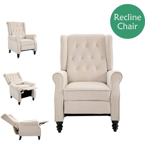WestWood Recliner Chair Velvet RC01 Cream