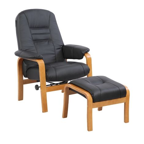 WestWood Recliner Chair with Stool RCS05 Black
