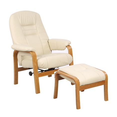 WestWood Recliner Chair with Stool RCS05 Cream