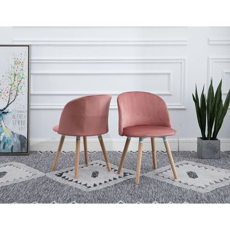 WestWood Velvet Dining Chair DCF08 1 Pair Pink
