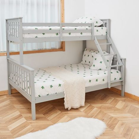 WestWood Wooden Bunk Bed Triple No Mattress Grey