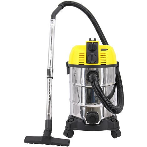 Wet and Dry Vacuum Cleaner, Self-Cleaning and Blowing Function 5 in 1 30L Capacity Vacuum Cleaners with Plug Socket,Flexible Tube Crevice Tool Included 1600W