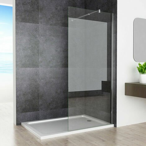 Wet Room Screen Walk in Shower Door Panel Shower Enclosure 8mm Easy Clean Nano Glass with Adjustable Support Bar 1950 mm Height