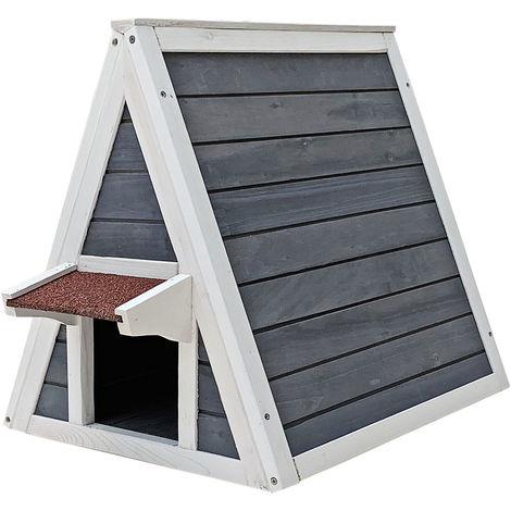 Wetterfestes Katzenhaus aus Holz 51 x 50,5 x 48,5 cm mit Eingang und Fluchttür