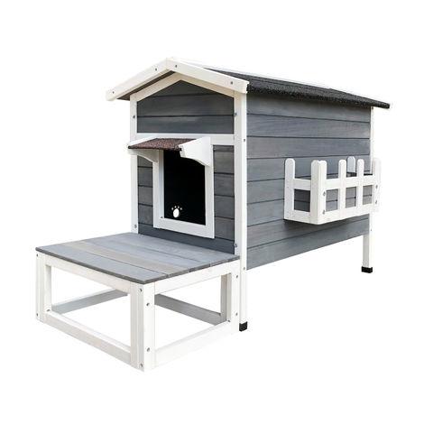 Wetterfestes Katzenhaus aus Holz 58 x 73.6 x 104.9 cm , Lodge mit Terrasse und Fluchttür