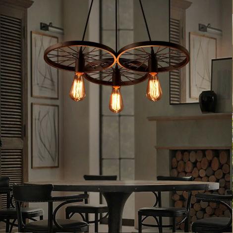 "main image of ""Wheel Industrial Retro Vintage Pendant Lamp Kitchen Bar Hanging Ceiling Light"""