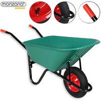 "Wheelbarrow 100 L Monzana Green Plastic Heavy Duty Garden Barrow 15"" Pneumatic Wheel"