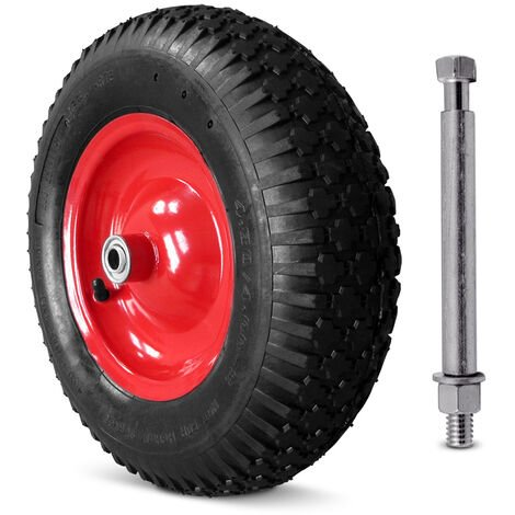 Wheelbarrow Tyre incl. Axis - Pneumatic or PU - Choose by yourself!