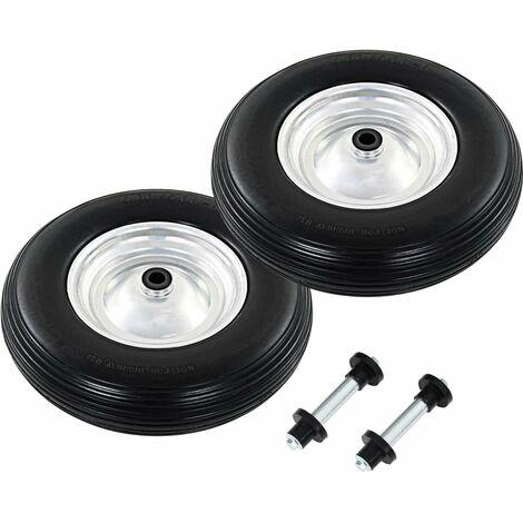 Wheelbarrow Wheels 2 pcs with Axles Solid PU 4.00-8 390 mm
