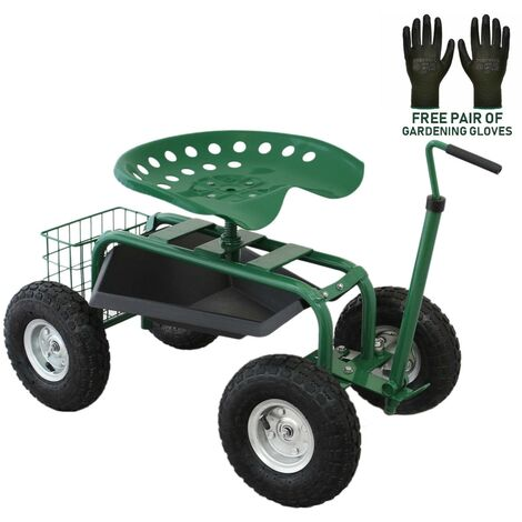 Wheeled Garden Cart Seat Heavy Duty Swivel Mobile Tool Tray Utility Basket Gardening Landscape Weeding Outdoor Work Stool