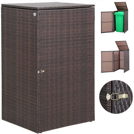 "main image of ""Wheelie Bin Storage Box Polyrattan Screen Shed Hider Hideaway for Rubbish Bins"""