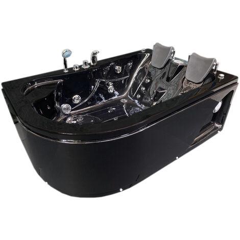 WHIRLPOOL BADEWANNE Black Varadero 170x115cm Für 2 Personen Schwarz
