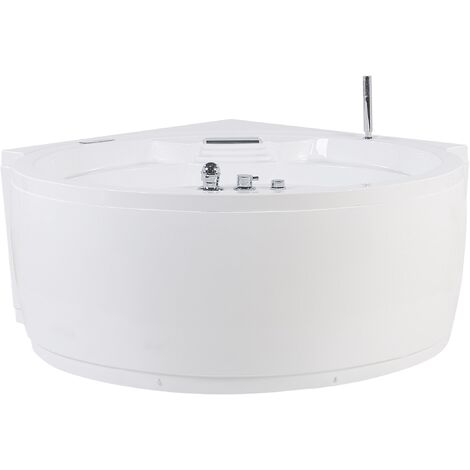 Whirlpool-Badewanne Eckbadewanne Weiß mit Massagefunktion und LED Rund Modern Glamour