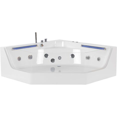 Whirlpool-Badewanne Weiß Eckmodell mit LED 150 cm mit 7 Farben Sanitäracryl Badezimmer