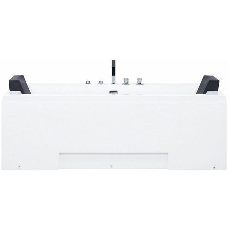 Whirlpool-Badewanne Weiß mit Farblichttherapie Wasserfall Modern
