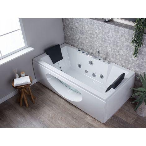 Whirlpool-Badewanne Weiß Rechteckig mit Sichtfenster Farblichttheraphie Acryl 180 cm Modern