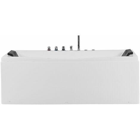 Whirlpool Badewanne weiß Sanitäracryl 2 Personen Massagedüsen Kopfstütze Indoor