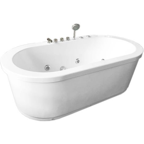WHIRLPOOL BATH TUB ACRYLIC MODERN FREESTANDING BATH TUB Rio 185 x 95 cm WHITE
