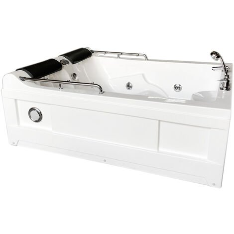 WHIRLPOOL BATH TUB CHROMOTHERAPY 175 x 132cm white MIMI
