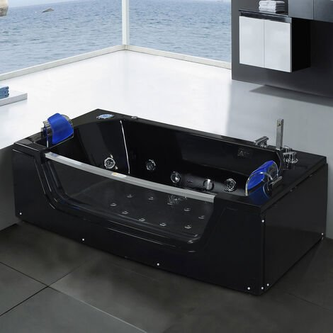 WHIRLPOOL BATH TUB CHROMOTHERAPY 180 x 90cm black JAMAICA
