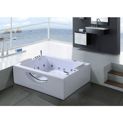WHIRLPOOL BATH TUB CHROMOTHERAPY Bali white 178x147cm 2 PERSONS