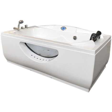 WHIRLPOOL BATH TUB CHROMOTHERAPY Paris HOTTUB 170 x 90cm BLANC