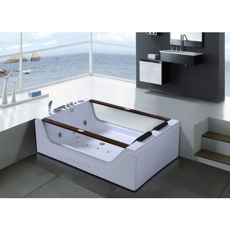 WHIRLPOOL BATH TUB CHROMOTHERAPY Positano 180x120cm 2 PERSONS