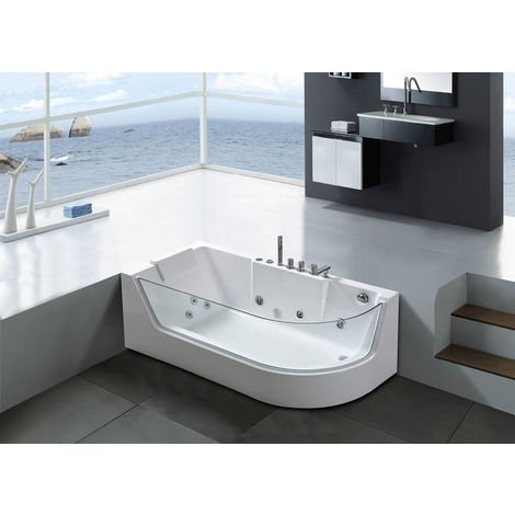 WHIRLPOOL BATH TUB Venice WHITE HOT TUB 170x80cm WITH PANORAMIC GLASS