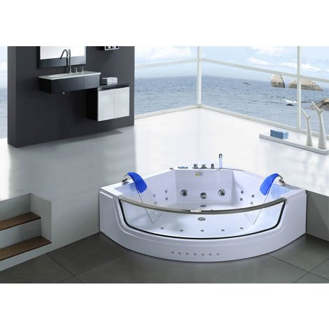 WHIRLPOOL BATH TUB white Capri 152x152cm 2 PERSONS