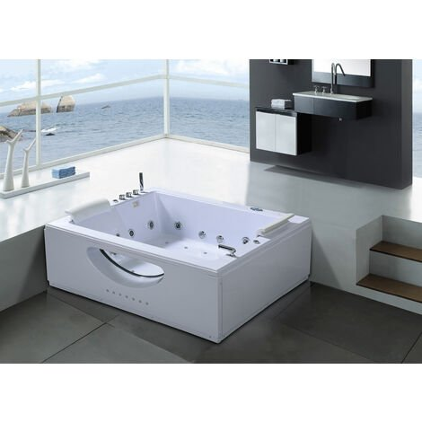 WHIRLPOOL BATHTUB NEW MODEL BALI CHROMOTHERAPY white 178 x 147cm 2 PERSONS