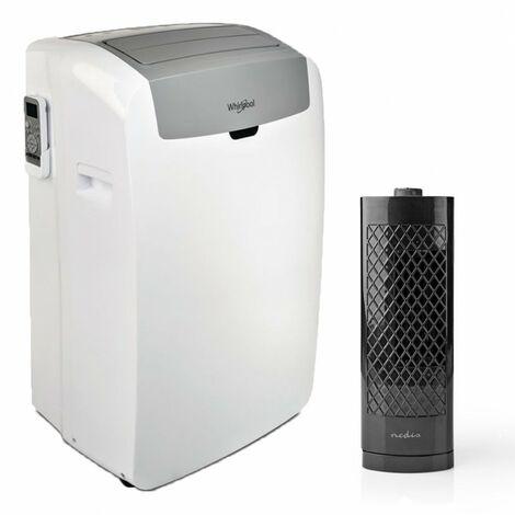 WHIRLPOOL Climatiseur mobile monobloc pour surface 25m2 + Ventilateur Colonne de Bureau - Blanc