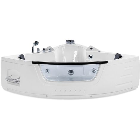 Whirlpool Corner Bath with LED 155 cm White MARTINICA