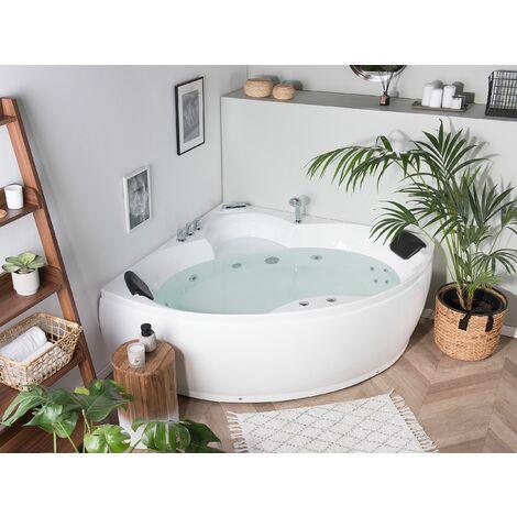 Whirlpool Corner Bath with LED White SENADO